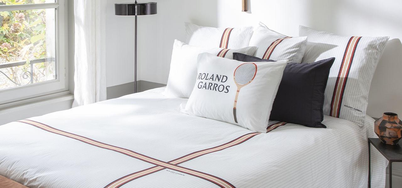 Parure de lit percale de coton imprimée Héritage - Roland-Garros 2021