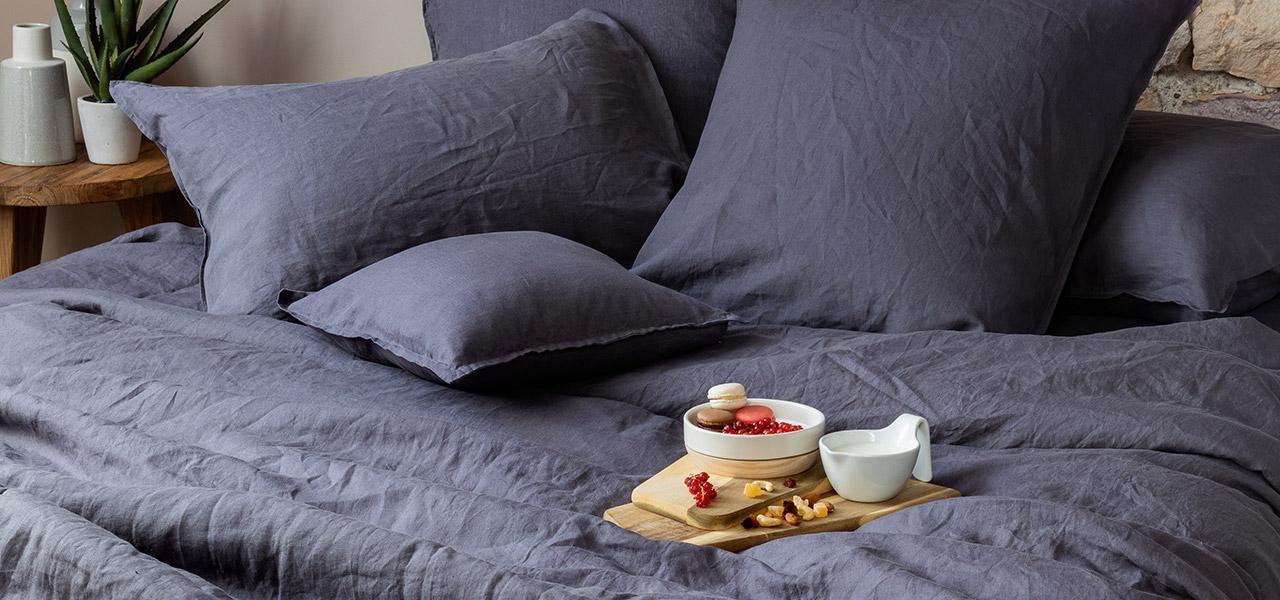 Parure de lit en lin SONGE Anthracite