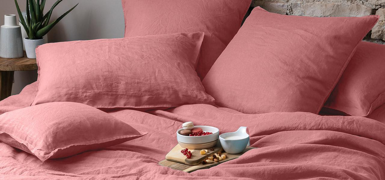 Parure de lit en lin SONGE Bois de rose