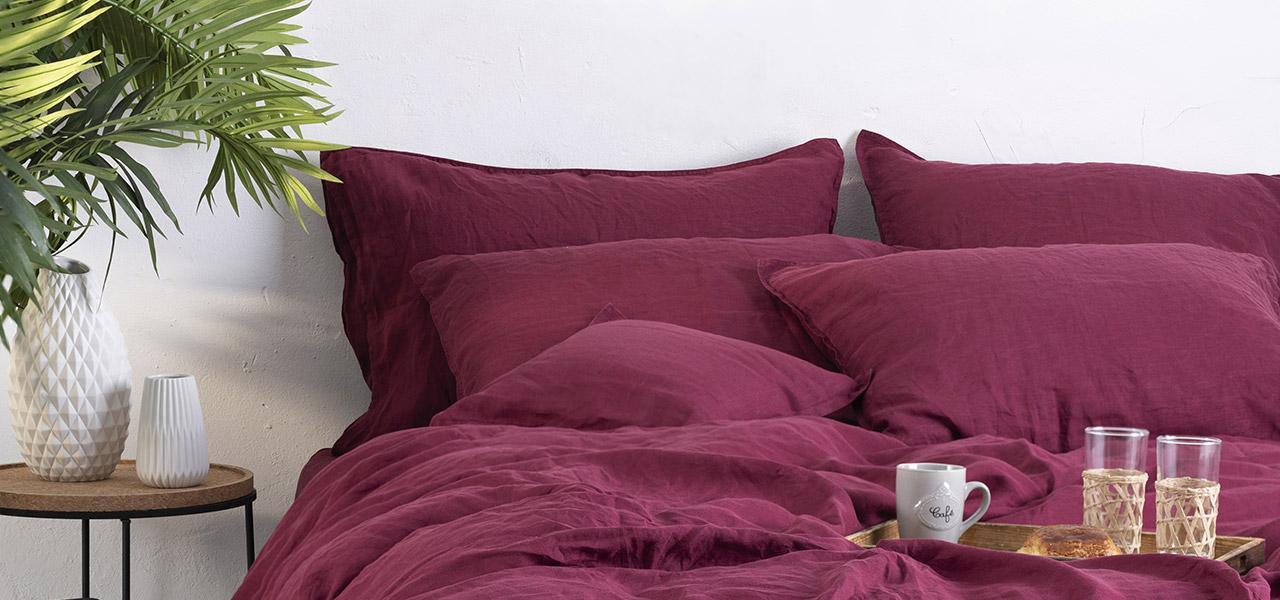 Parure de lit en lin SONGE Griotte