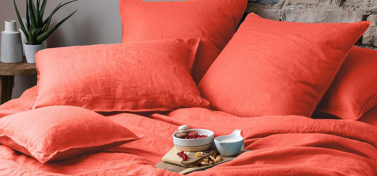Parure de lit en lin SONGE Papaye