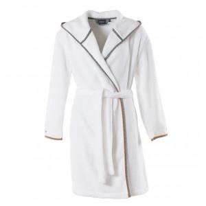 Peignoir femme coton brodé à capuche ELLYN blanc