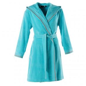 Peignoir femme velours à capuche HOLI turquoise