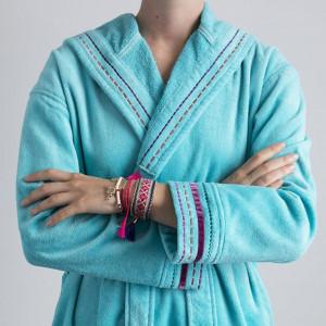 Peignoir femme KYRIEL turquoise à capuche