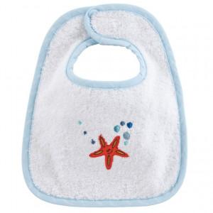 Mini bavoir coton brodé étoile de mer LOHAN blanc