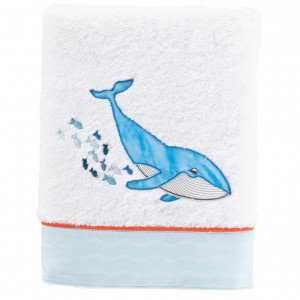 Serviette de toilette coton brodé baleine LOHAN blanc