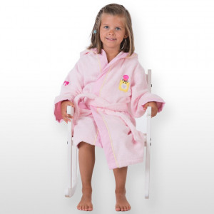 Peignoir enfant rose bonbon brodé