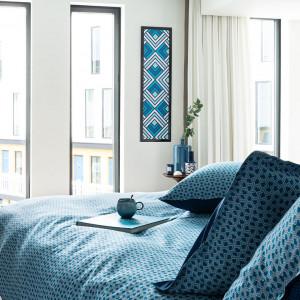 Housse de couette coton géométrique bleu PAROS