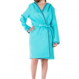 Peignoir femme réversible turquoise