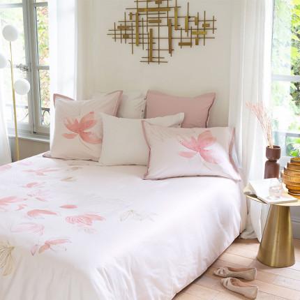 Parure de lit satin de coton imprimée fleurs Alcôve classique chic