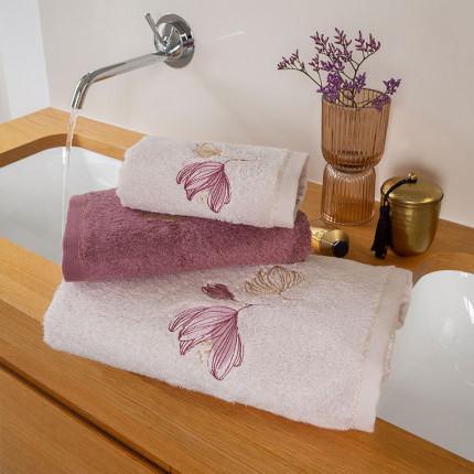Parure de bain coton et viscose de bambou brodée fleurs Alcôve