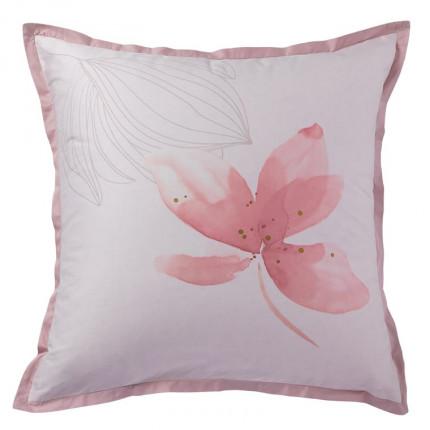 Taie d'oreiller carrée satin de coton imprimée fleurs Alcôve