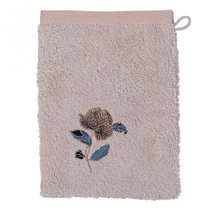 Gant de toilette bouclette de coton broderie florale Allégorie blush