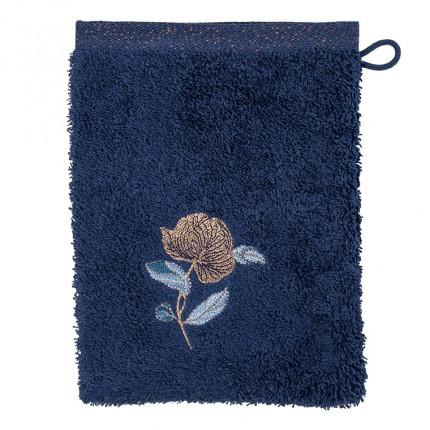 Gant de toilette bouclette de coton broderie florale Allégorie bleu éclipse