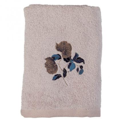 Drap de bain bouclette de coton broderie florale Allégorie blush