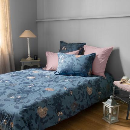 Parure de lit percale de coton imprimé floral Allégorie classique chic