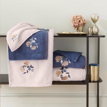 Parure de bain bouclette de coton broderie florale Allégorie