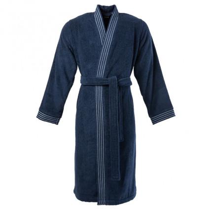 Peignoir homme bouclette de coton kimono Allégorie bleu éclipse