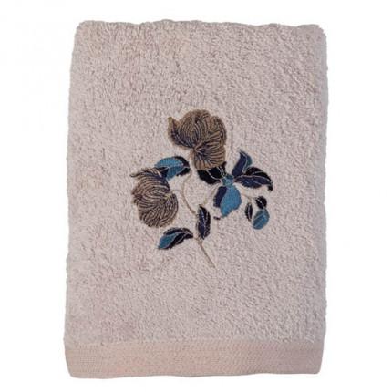 Serviette de toilette bouclette de coton broderie florale Allégorie blush