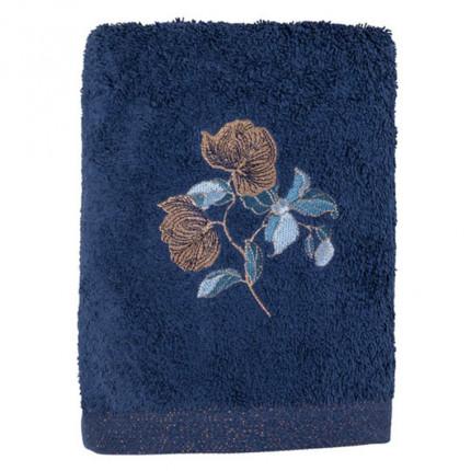 Serviette de toilette bouclette de coton broderie florale Allégorie bleu éclipse