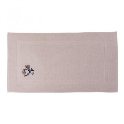 Tapis de bain bouclette de coton broderie florale Allégorie blush