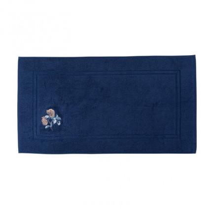 Tapis de bain bouclette de coton broderie florale Allégorie bleu éclipse