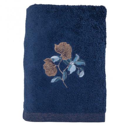 Drap de bain bouclette de coton broderie florale Allégorie bleu éclipse