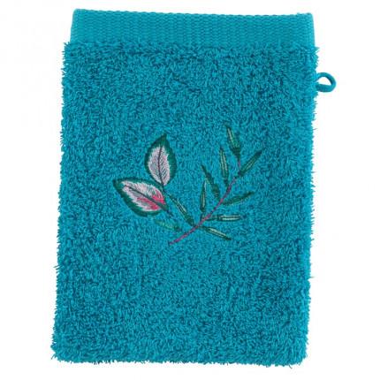 Gant de toilette coton brodé végétal Aloe canard
