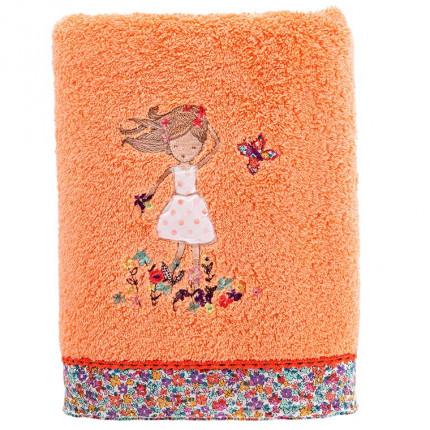 Serviette de toilette coton brodé liberty AMBRE corail