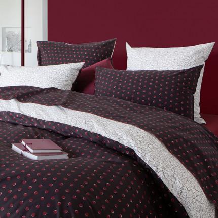 Drap de lit percale de coton imprimé Anae griotte