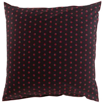 Taie d'oreiller carrée percale de coton imprimée Anae griotte