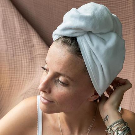 Serviette pour cheveux en velours de coton Anna blanc