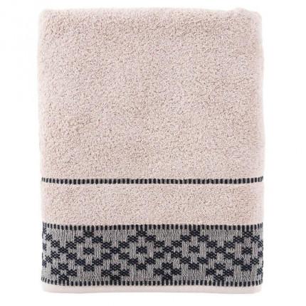 Drap de bain coton broderie géométrique Aravis réglisse