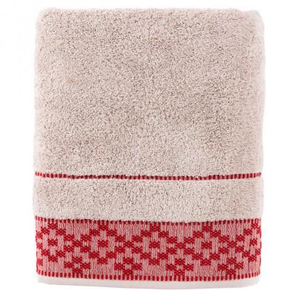 Drap de bain coton broderie géométrique Aravis rouge