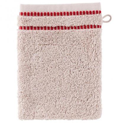 Gant de toilette coton broderie géométrique Aravis rouge