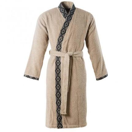 Peignoir homme coton ciselé kimono Aravis grège