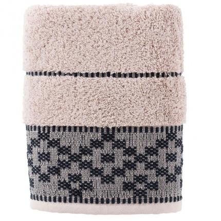 Serviette de toilette coton broderie géométrique Aravis réglisse