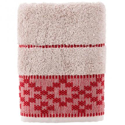 Serviette de toilette coton broderie géométrique Aravis rouge