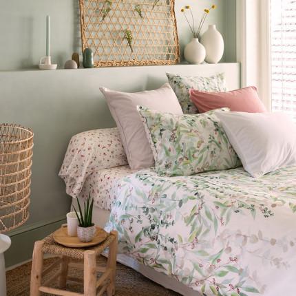 Parure de lit pur coton biologique lavée imprimée végétal Arborea bohème