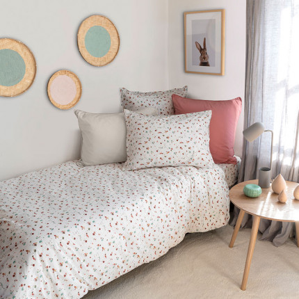 Parure de lit pur coton biologique lavée imprimée terrazzo Arborea enfant