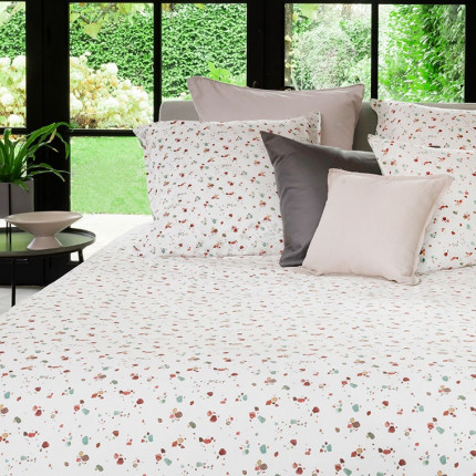 Parure de lit pur coton biologique lavée imprimée terrazzo Arborea urbain