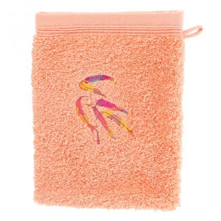 Gant de toilette coton brodé végétal Asphodel corail