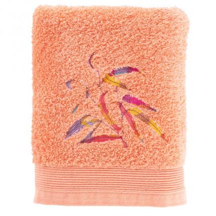 Serviette de toilette coton brodé végétal Asphodel corail