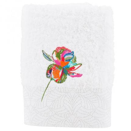 Serviette de toilette bouclette brodée Ayana blanc