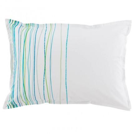 Taie d'oreiller rectangulaire coton peignée Azur