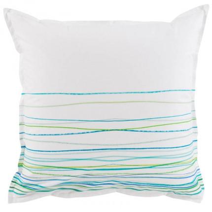 Taie d'oreiller carrée coton peignée Azur