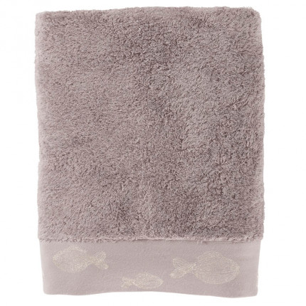 Drap de bain bouclette de coton brodé Bellagio gris