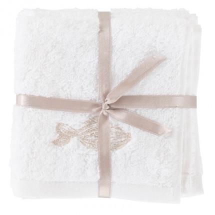 Lot de 3 lavettes coton brodée Bellagio blanc