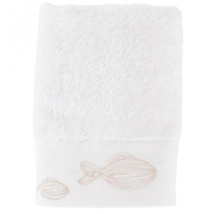Serviette de toilette bouclette de coton brodée Bellagio blanc