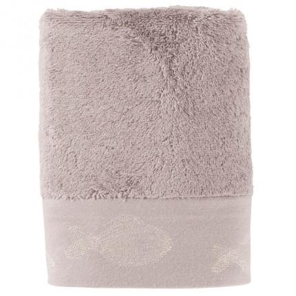 Serviette de toilette bouclette de coton brodée Bellagio gris